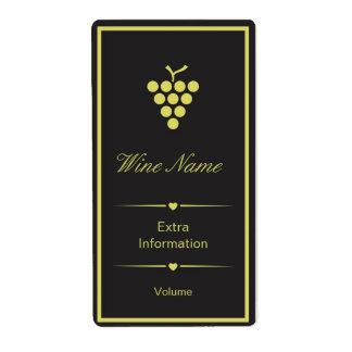Etiqueta negra del vino amarillo etiqueta de envío