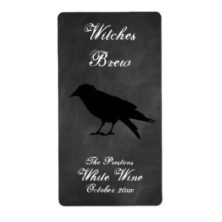 Etiqueta negra del vino del cuervo etiquetas de envío