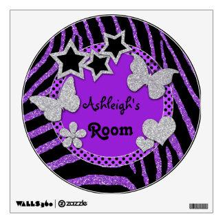 Etiqueta negra púrpura de la pared de la cebra de  vinilo adhesivo
