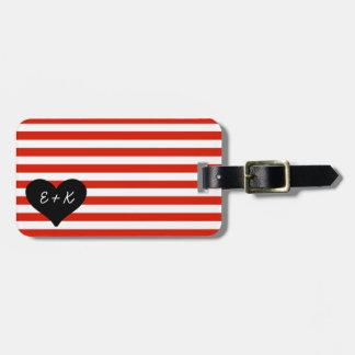 Etiqueta negra rayada roja del equipaje del corazó etiquetas maleta