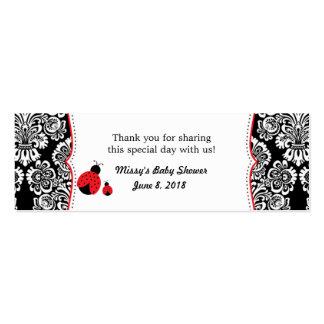 Etiqueta negra roja del favor de la fiesta de tarjetas de visita mini