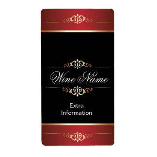 Etiqueta negra roja del vino del oro clásico etiquetas de envío