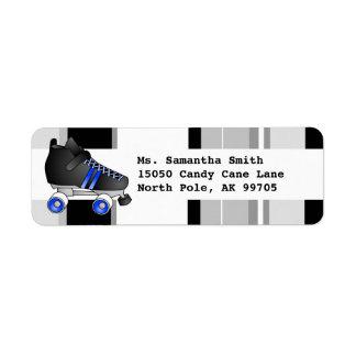 Etiqueta negra y azul del patín de ruedas del remi etiqueta de remite