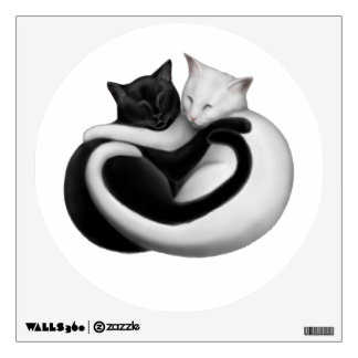 Etiqueta negra y blanca de la pared de los gatos d vinilo