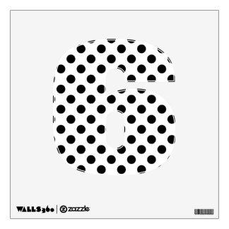 Etiqueta negra y blanca de la pared del número 6 d vinilo