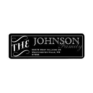 Etiqueta negra y blanca de la tipografía del etiqueta de remitente