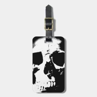 Etiqueta negra y blanca del equipaje del cráneo etiqueta para maleta