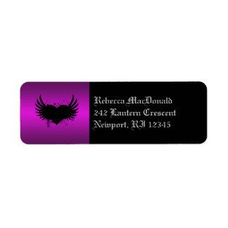 Etiqueta negra y púrpura gótica del remite etiqueta de remite