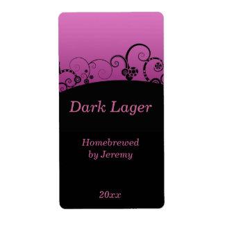 Etiqueta negra y rosada de la cerveza etiqueta de envío