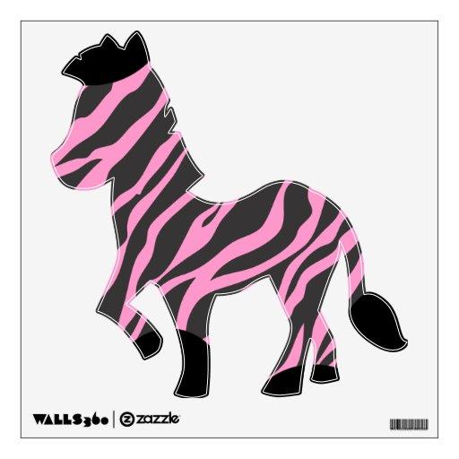 Etiqueta negra y rosada de la pared de la cebra