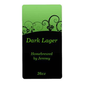 Etiqueta negra y verde de la cerveza etiquetas de envío