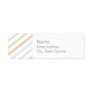 Etiqueta neutral del remite de la raya etiqueta de remite