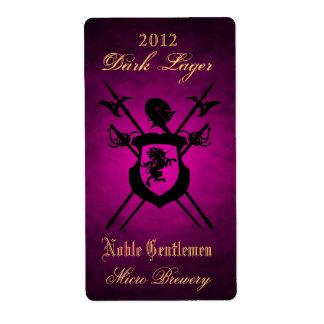 Etiqueta noble de la cerveza del rosa del escudo d etiquetas de envío