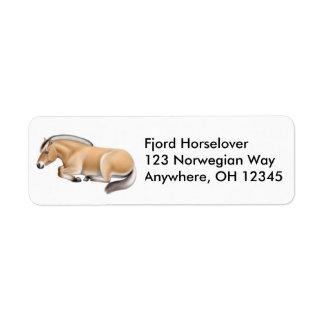 Etiqueta noruega soñolienta del caballo del fiordo etiqueta de remitente