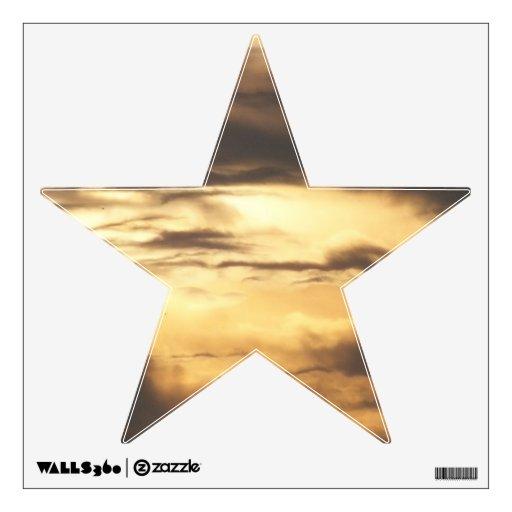 Etiqueta nublada de oro de la pared de la estrella vinilo adhesivo
