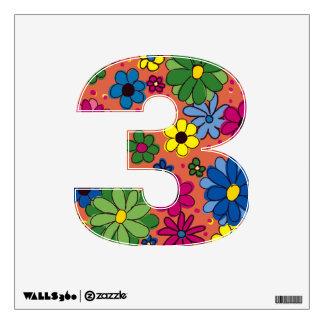 Etiqueta-Número 3-Orange de la pared con las flore Vinilo Adhesivo
