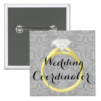 Etiqueta nupcial del nombre del banquete de boda pin cuadrado