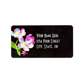 Etiqueta nupcial del remite de los flores cósmicos etiquetas de dirección
