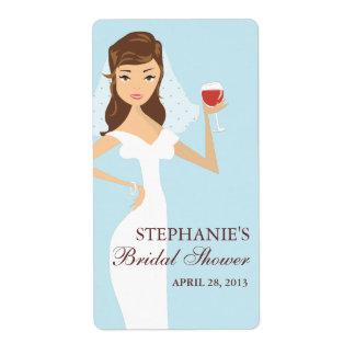 Etiqueta nupcial del tema del vino de la ducha de  etiquetas de envío