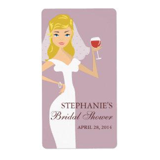 Etiqueta nupcial del tema del vino de la ducha de  etiqueta de envío