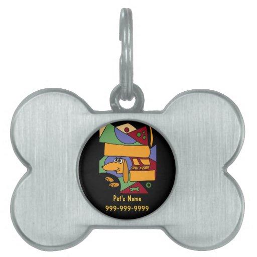 Etiqueta o llavero del mascota del arte del Dachsh Placa Mascota