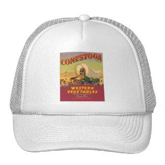 Etiqueta occidental del cajón del vintage de las v gorras de camionero