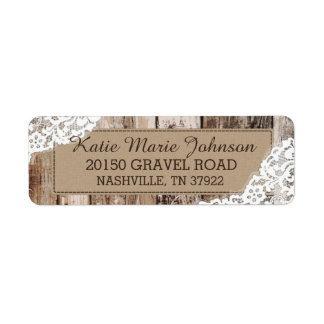Etiqueta occidental rústica de madera y del boda etiqueta de remitente