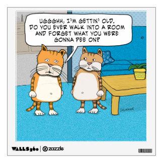 Etiqueta olvidadiza divertida de la pared del gato