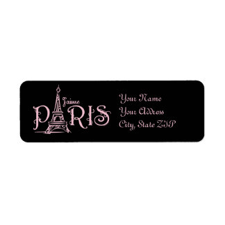 Etiqueta oscura de J aime París Etiqueta De Remite