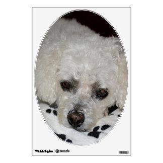 Etiqueta oval de la pared del perro blanco vinilo