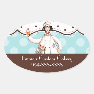 Etiqueta oval del chica del cocinero - Brown con