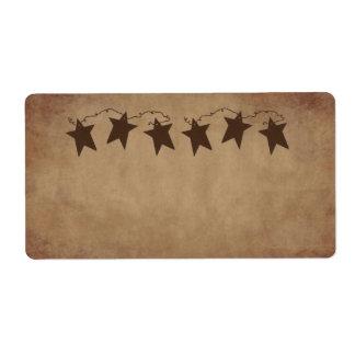 Etiqueta oxidada de las estrellas etiqueta de envío
