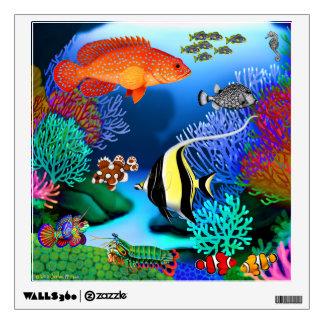 Etiqueta pacífica colorida de la pared de los pesc vinilo adhesivo