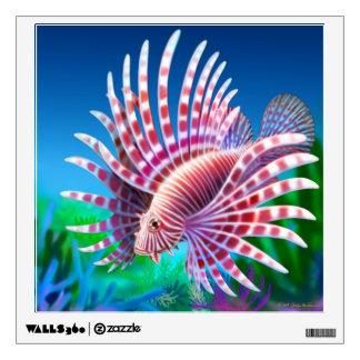 Etiqueta pacífica de la pared del Lionfish del fil