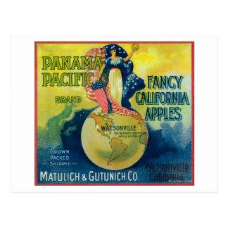 Etiqueta pacífica del cajón de Panamá Apple Postales
