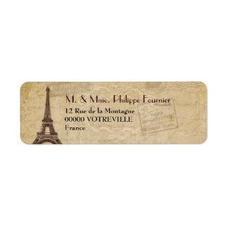 Etiqueta parisiense antigua del remite de la torre etiqueta de remitente