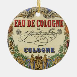 Etiqueta parisiense del perfume del vintage adorno navideño redondo de cerámica