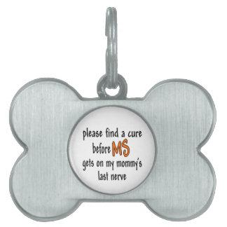 Etiqueta pasada del mascota del hueso del nervio placa de mascota
