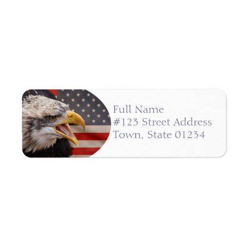 Etiqueta patriótica del remite de Eagle Etiquetas De Remite