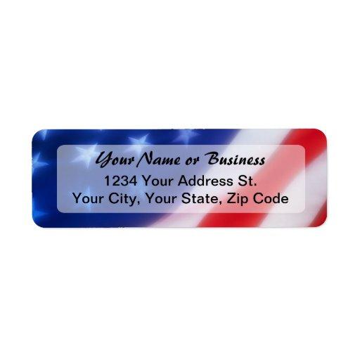 Etiqueta patriótica del remite de la bandera ameri etiqueta de remite