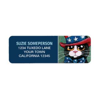 Etiqueta patriótica del remite del gato del etiqueta de remite