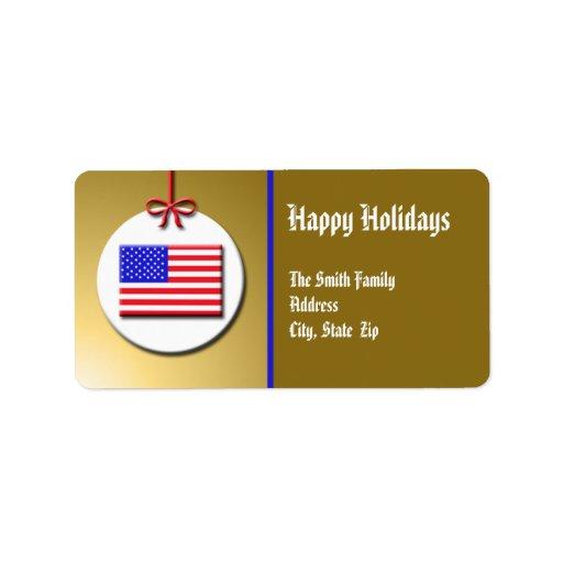 Etiqueta patriótica del remite del navidad etiqueta de dirección