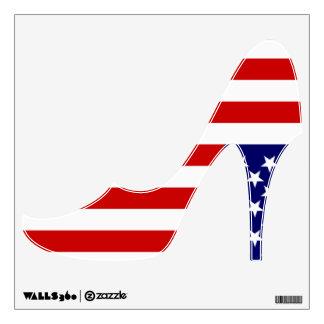 Etiqueta patriótica del zapato de tacón alto de la vinilo