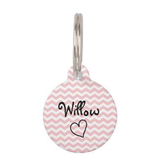 Etiqueta personalizada Chevron rosada linda del Identificador Para Mascota