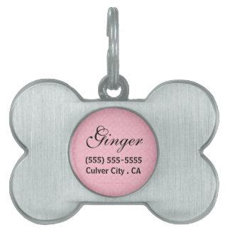 Etiqueta personalizada damasco rosado del mascota placas de mascota