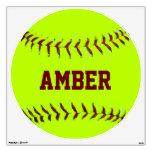 Etiqueta personalizada de la pared del softball de