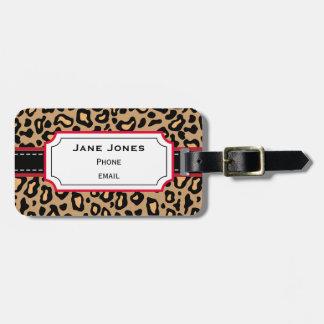 Etiqueta personalizada del equipaje del leopardo etiquetas de equipaje