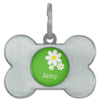 Etiqueta personalizada del mascota de la margarita placa de nombre de mascota