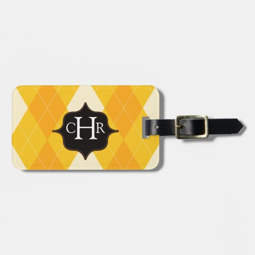 Etiqueta personalizada monograma amarillo del equi etiquetas de equipaje
