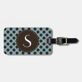 Etiqueta personalizada monograma azul del equipaje etiquetas maleta